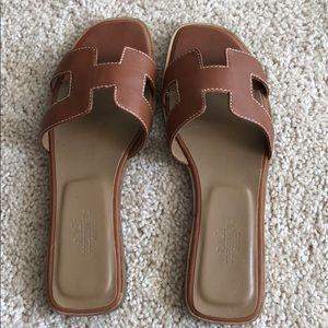 Brown Hermes Oran sandals